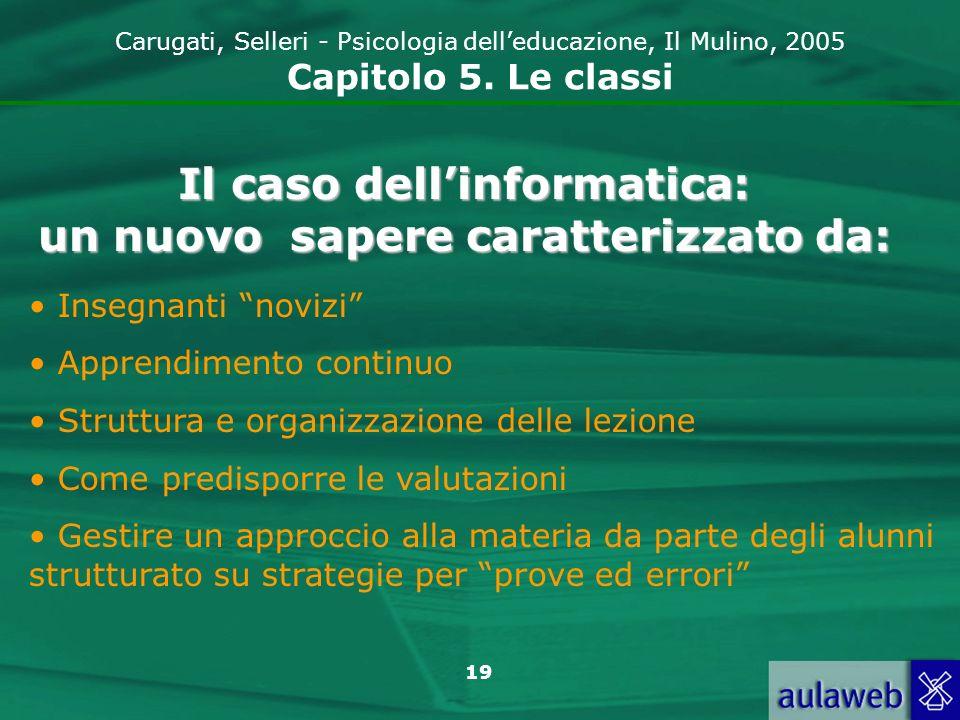 19 Carugati, Selleri - Psicologia delleducazione, Il Mulino, 2005 Capitolo 5. Le classi Il caso dellinformatica: un nuovo sapere caratterizzato da: In