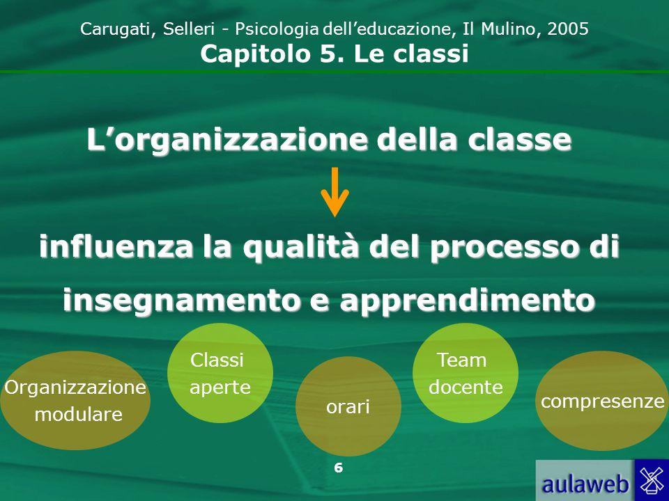6 Carugati, Selleri - Psicologia delleducazione, Il Mulino, 2005 Capitolo 5. Le classi Lorganizzazione della classe influenza la qualità del processo