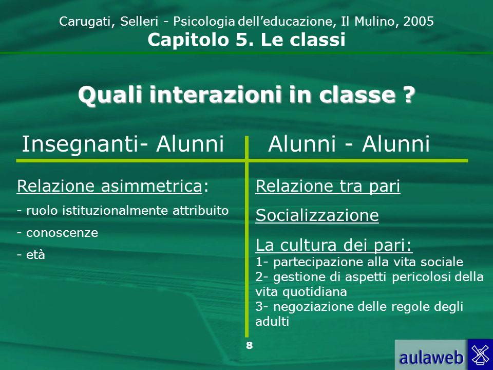 8 Carugati, Selleri - Psicologia delleducazione, Il Mulino, 2005 Capitolo 5. Le classi Quali interazioni in classe ? Insegnanti- AlunniAlunni - Alunni