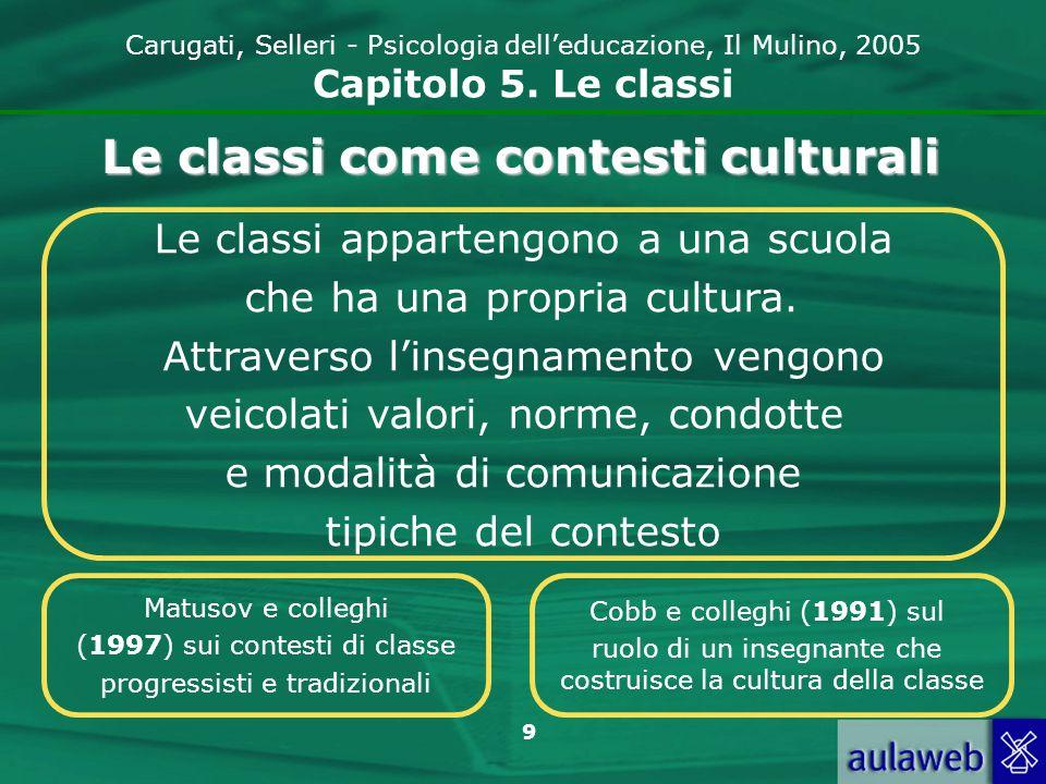 9 Carugati, Selleri - Psicologia delleducazione, Il Mulino, 2005 Capitolo 5. Le classi Le classi appartengono a una scuola che ha una propria cultura.