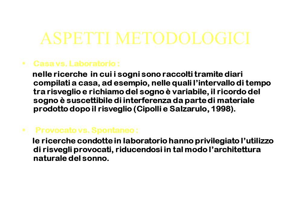 ASPETTI METODOLOGICI Casa vs.