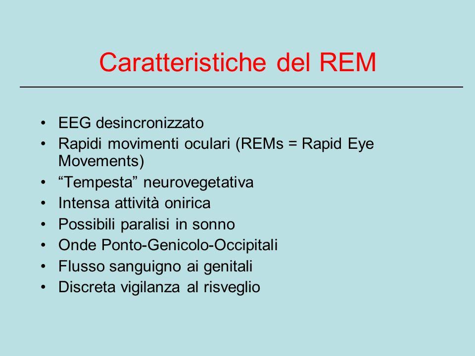 Caratteristiche del REM EEG desincronizzato Rapidi movimenti oculari (REMs = Rapid Eye Movements) Tempesta neurovegetativa Intensa attività onirica Possibili paralisi in sonno Onde Ponto-Genicolo-Occipitali Flusso sanguigno ai genitali Discreta vigilanza al risveglio