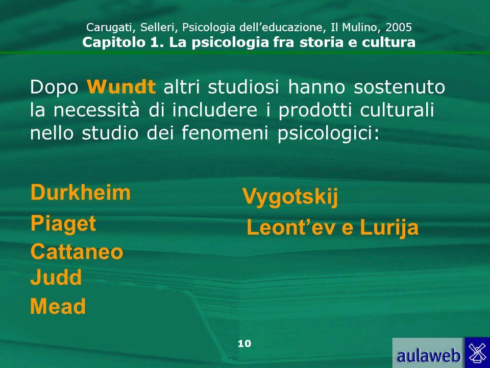10 Durkheim Piaget Cattaneo Judd Mead Vygotskij Leontev e Lurija Dopo Wundt altri studiosi hanno sostenuto la necessità di includere i prodotti cultur