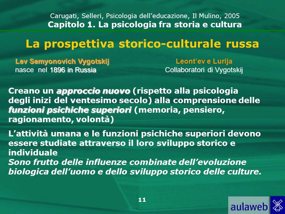 11 La prospettiva storico-culturale russa Leontev e Lurija Collaboratori di Vygotskij Lev Semyonovich Vygotskij 1896 inRussia Lev Semyonovich Vygotski