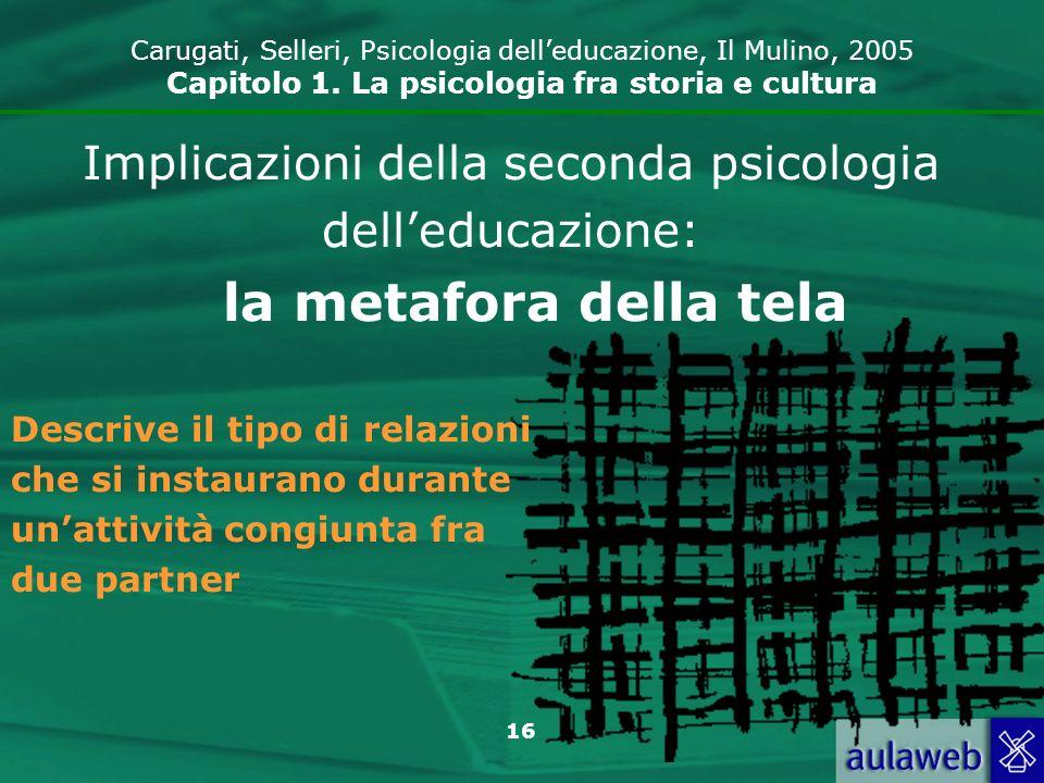 16 Carugati, Selleri, Psicologia delleducazione, Il Mulino, 2005 Capitolo 1. La psicologia fra storia e cultura Implicazioni della seconda psicologia
