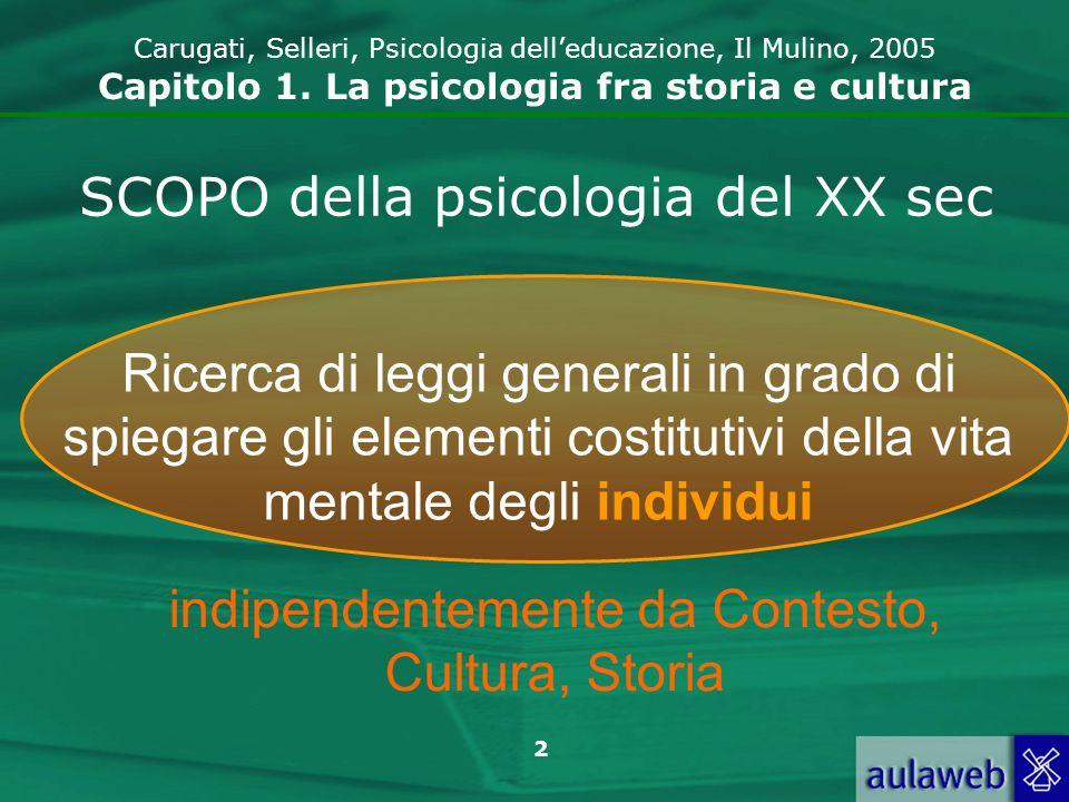 2 Carugati, Selleri, Psicologia delleducazione, Il Mulino, 2005 Capitolo 1. La psicologia fra storia e cultura SCOPO della psicologia del XX sec Ricer