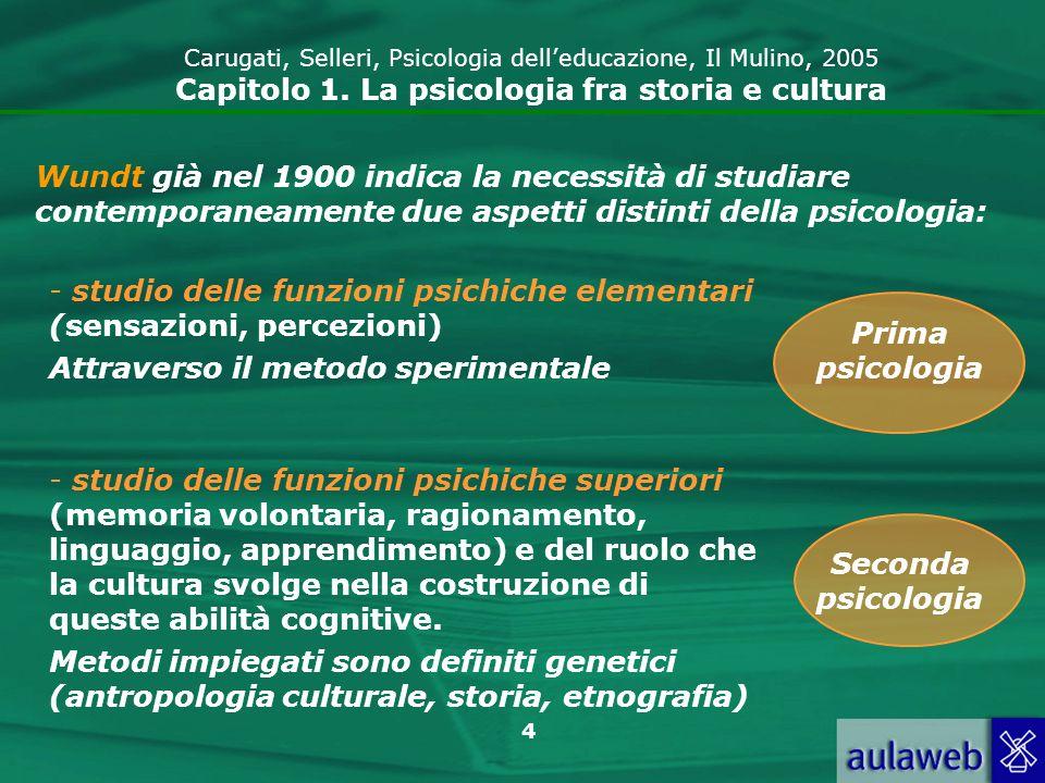 4 Wundt già nel 1900 indica la necessità di studiare contemporaneamente due aspetti distinti della psicologia: - studio delle funzioni psichiche eleme