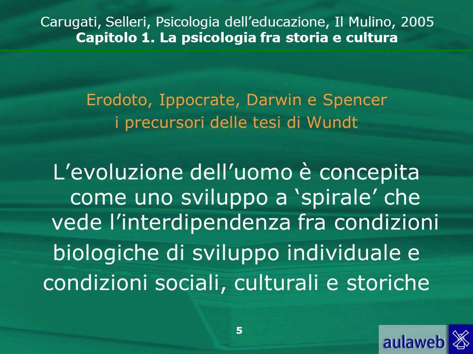 5 Erodoto, Ippocrate, Darwin e Spencer i precursori delle tesi di Wundt Levoluzione delluomo è concepita come uno sviluppo a spirale che vede linterdi