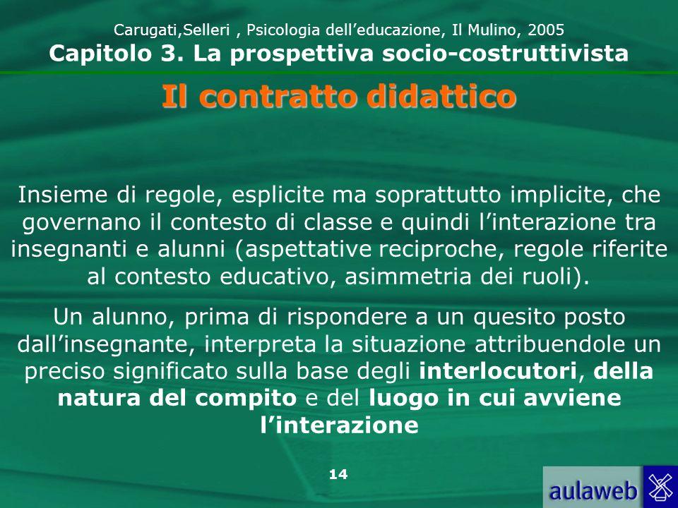 14 Carugati,Selleri, Psicologia delleducazione, Il Mulino, 2005 Capitolo 3. La prospettiva socio-costruttivista Il contratto didattico Insieme di rego