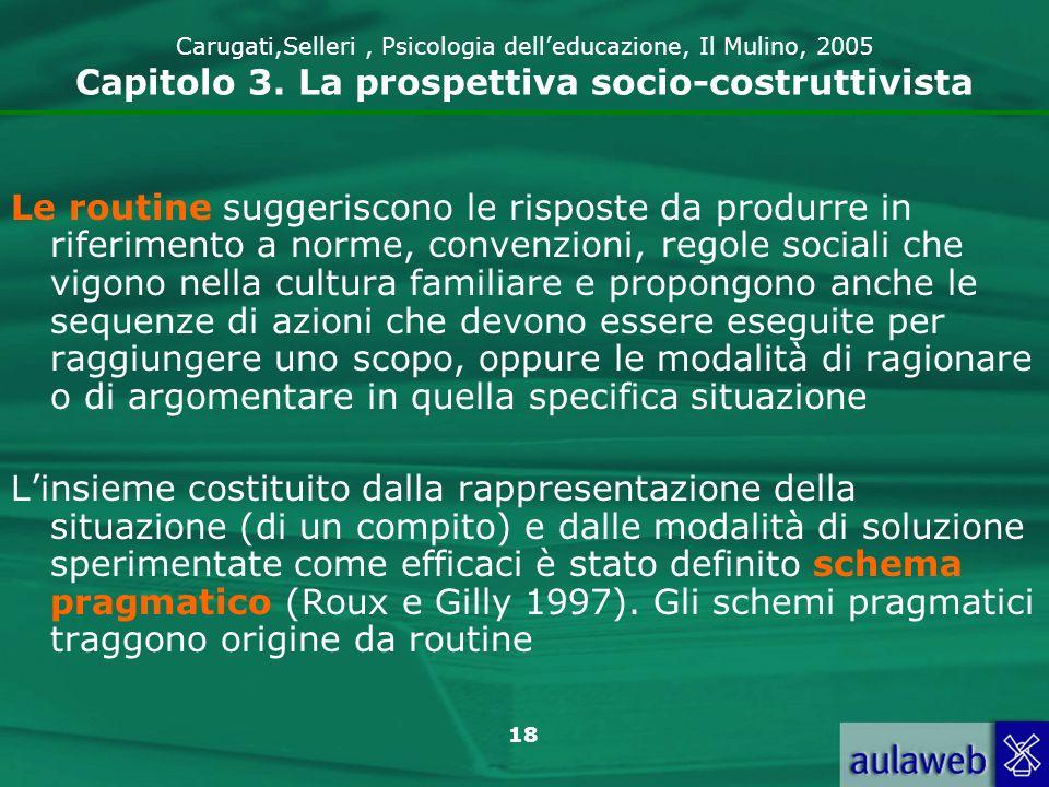 18 Carugati,Selleri, Psicologia delleducazione, Il Mulino, 2005 Capitolo 3. La prospettiva socio-costruttivista Le routine suggeriscono le risposte da