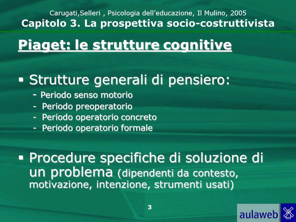 3 Carugati,Selleri, Psicologia delleducazione, Il Mulino, 2005 Capitolo 3. La prospettiva socio-costruttivista Piaget: le strutture cognitive Struttur