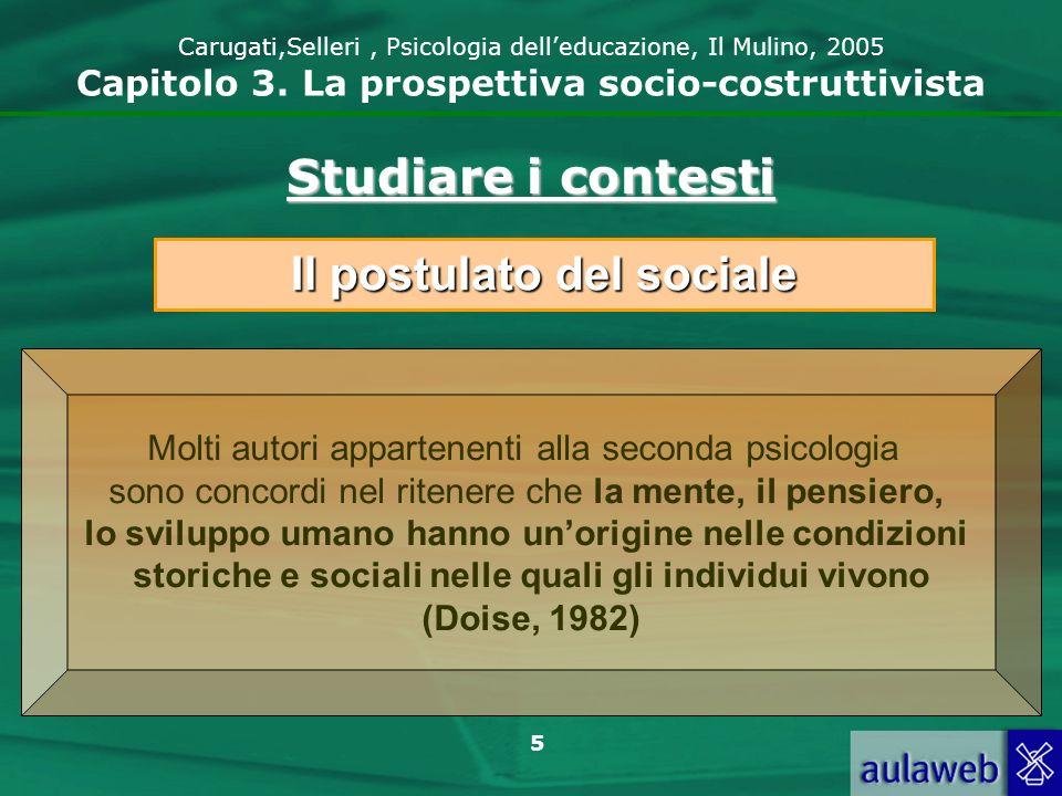 6 Carugati,Selleri, Psicologia delleducazione, Il Mulino, 2005 Capitolo 3.