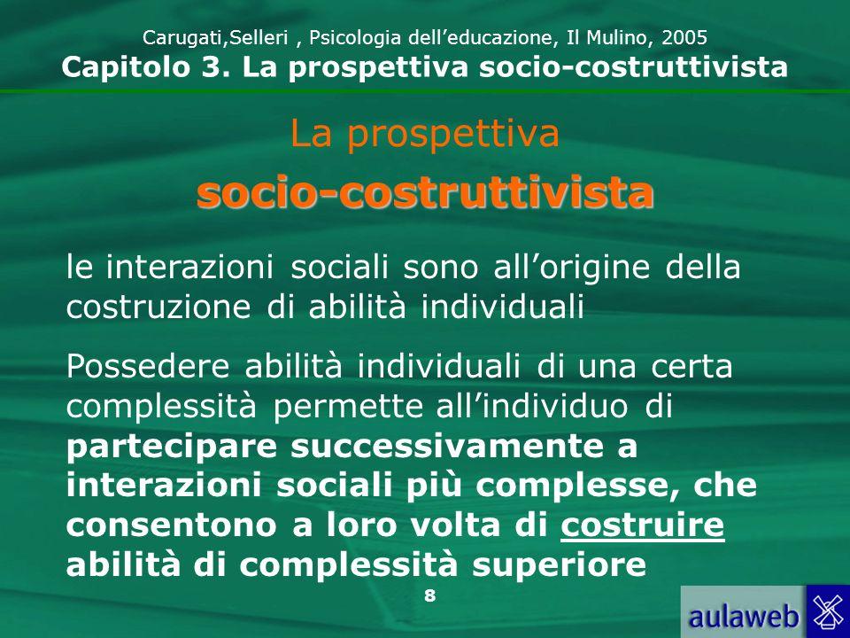 8 Carugati,Selleri, Psicologia delleducazione, Il Mulino, 2005 Capitolo 3. La prospettiva socio-costruttivista La prospettivasocio-costruttivista le i