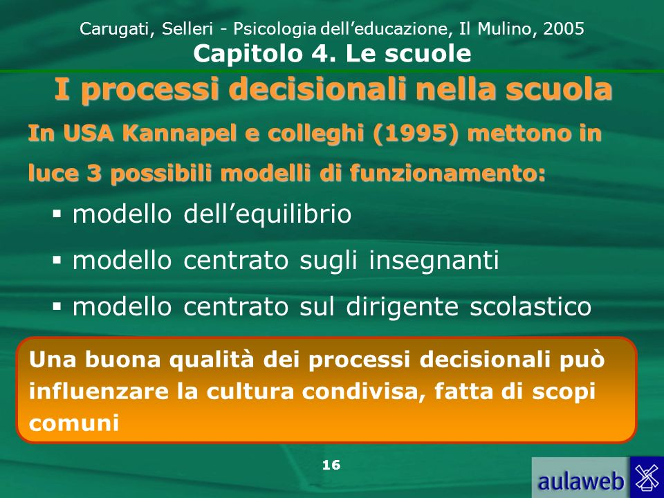 16 Carugati, Selleri - Psicologia delleducazione, Il Mulino, 2005 Capitolo 4. Le scuole I processi decisionali nella scuola In USA Kannapel e colleghi