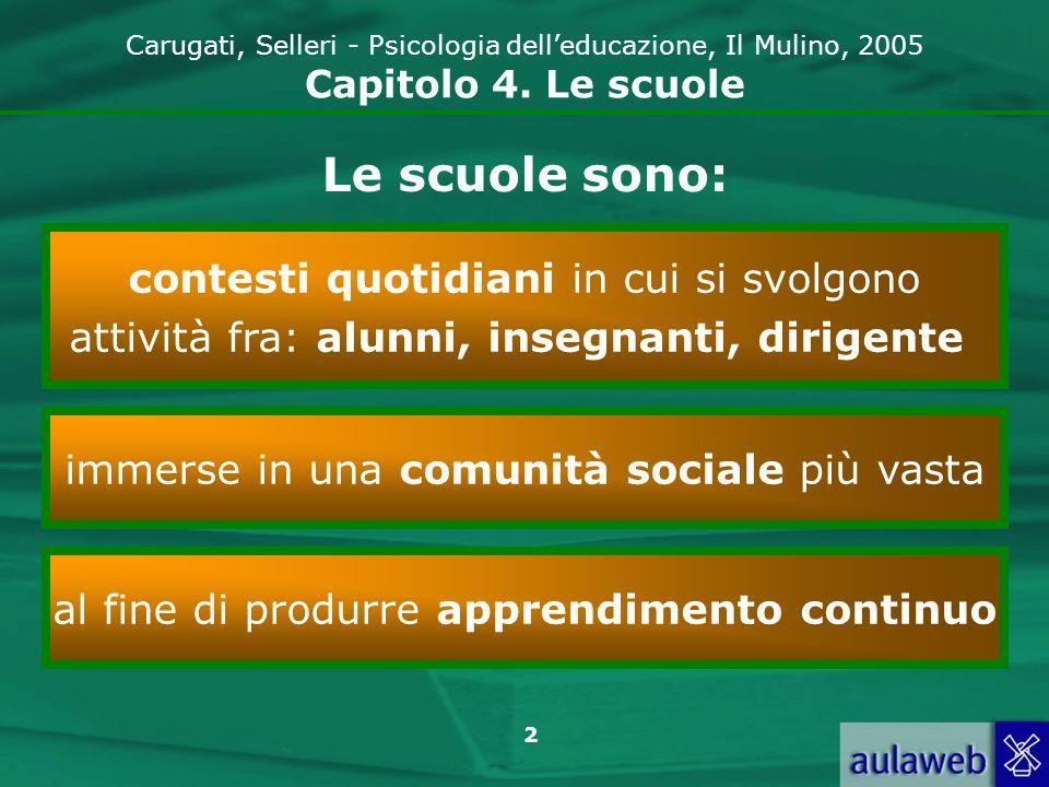 2 Carugati, Selleri - Psicologia delleducazione, Il Mulino, 2005 Capitolo 4. Le scuole Le scuole sono: contesti quotidiani in cui si svolgono attività