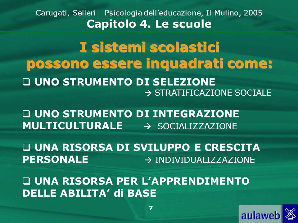 7 Carugati, Selleri - Psicologia delleducazione, Il Mulino, 2005 Capitolo 4. Le scuole I sistemi scolastici possono essere inquadrati come: UNO STRUME