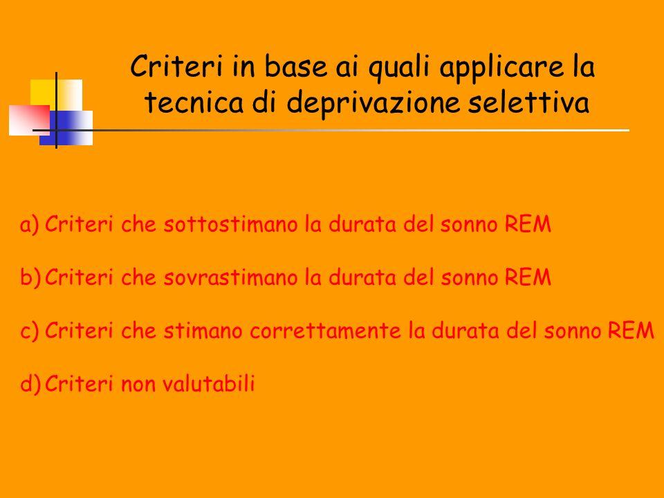 Criteri in base ai quali applicare la tecnica di deprivazione selettiva a)Criteri che sottostimano la durata del sonno REM b)Criteri che sovrastimano