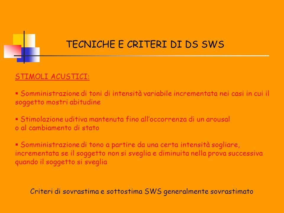 TECNICHE E CRITERI DI DS SWS STIMOLI ACUSTICI: Somministrazione di toni di intensità variabile incrementata nei casi in cui il soggetto mostri abitudi