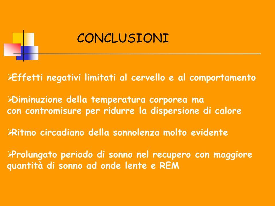 CONCLUSIONI Effetti negativi limitati al cervello e al comportamento Diminuzione della temperatura corporea ma con contromisure per ridurre la dispers