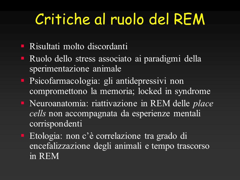 Critiche al ruolo del REM Risultati molto discordanti Ruolo dello stress associato ai paradigmi della sperimentazione animale Psicofarmacologia: gli a