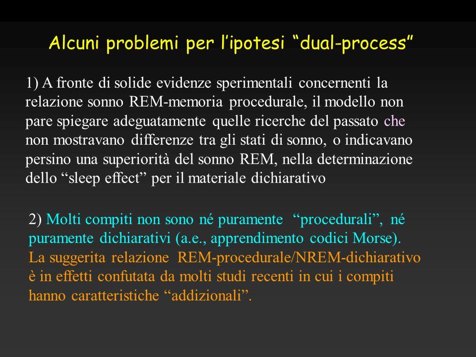 2) Molti compiti non sono né puramente procedurali, né puramente dichiarativi (a.e., apprendimento codici Morse). La suggerita relazione REM-procedura