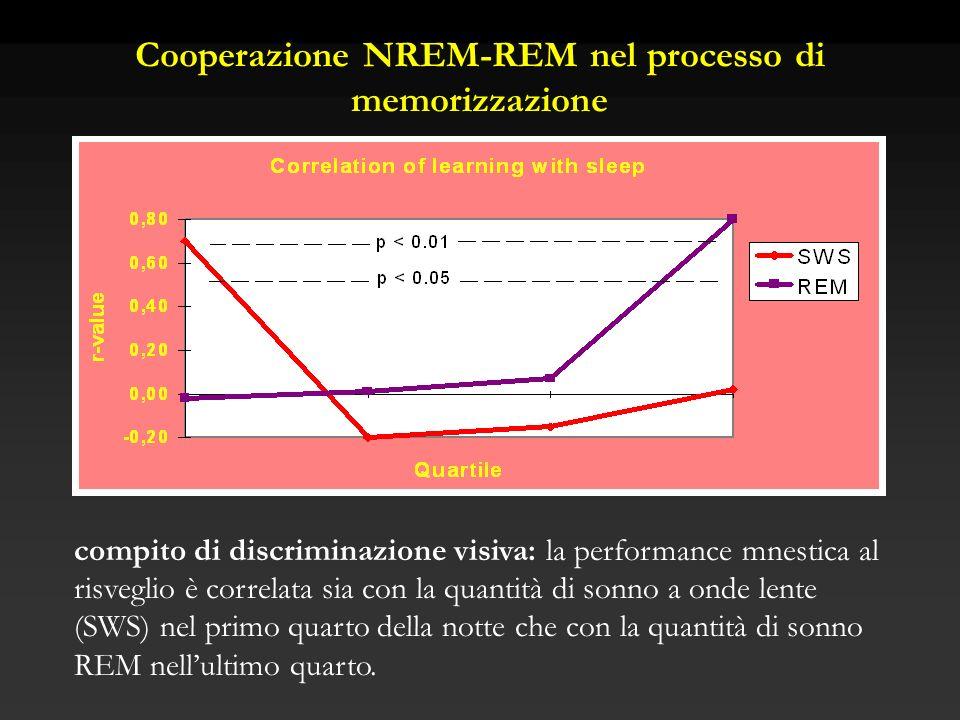 compito di discriminazione visiva: la performance mnestica al risveglio è correlata sia con la quantità di sonno a onde lente (SWS) nel primo quarto d