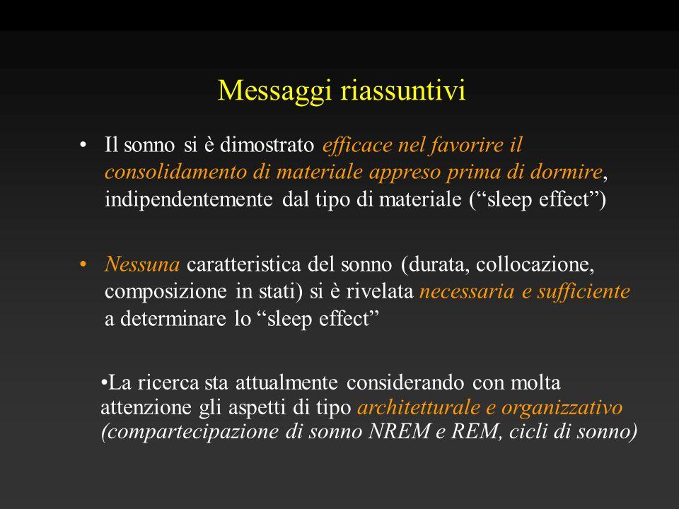 Messaggi riassuntivi Il sonno si è dimostrato efficace nel favorire il consolidamento di materiale appreso prima di dormire, indipendentemente dal tip