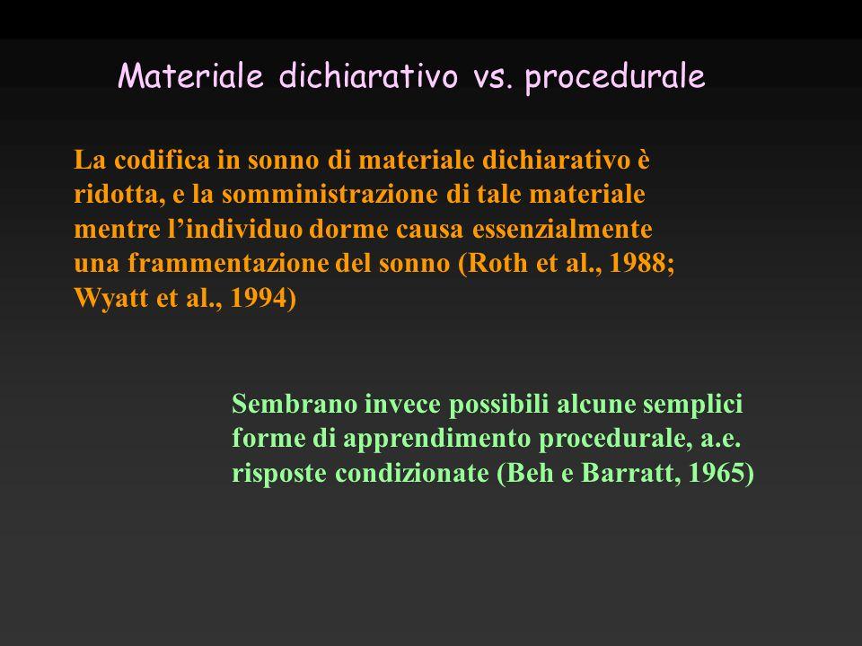 La codifica in sonno di materiale dichiarativo è ridotta, e la somministrazione di tale materiale mentre lindividuo dorme causa essenzialmente una fra