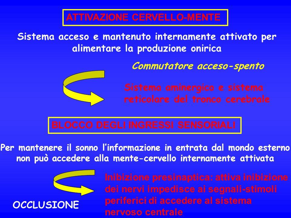 ATTIVAZIONE CERVELLO-MENTE Sistema acceso e mantenuto internamente attivato per alimentare la produzione onirica Sistema aminergico e sistema reticola