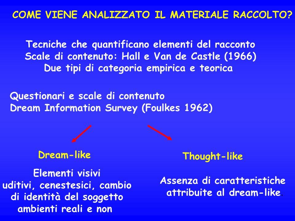 DREAM-LIKE FANTASY SCALE (Foulkes 1966): scala ordinale con 8 possibili scelte da nessun contenuto a contenuto percettivo allucinatorio, bizzarro, ecc.