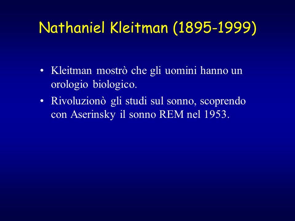 Nathaniel Kleitman (1895-1999) Kleitman mostrò che gli uomini hanno un orologio biologico. Rivoluzionò gli studi sul sonno, scoprendo con Aserinsky il