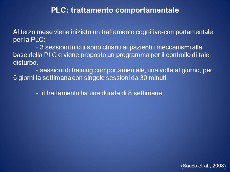 PLC: trattamento comportamentale (Sacco et al., 2008) Al terzo mese viene iniziato un trattamento cognitivo-comportamentale per la PLC: - 3 sessioni i