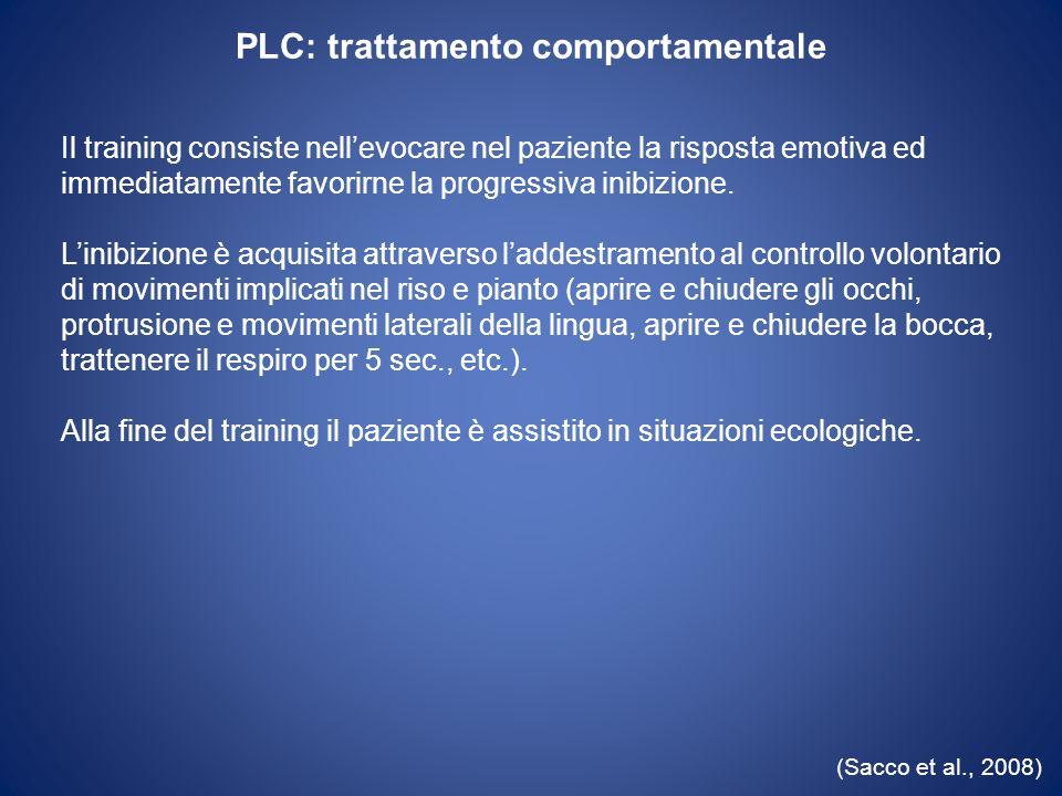 PLC: trattamento comportamentale (Sacco et al., 2008) Il training consiste nellevocare nel paziente la risposta emotiva ed immediatamente favorirne la