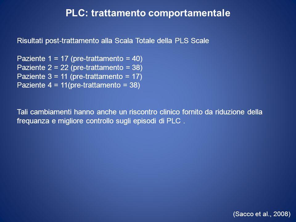 PLC: trattamento comportamentale (Sacco et al., 2008) Risultati post-trattamento alla Scala Totale della PLS Scale Paziente 1 = 17 (pre-trattamento =