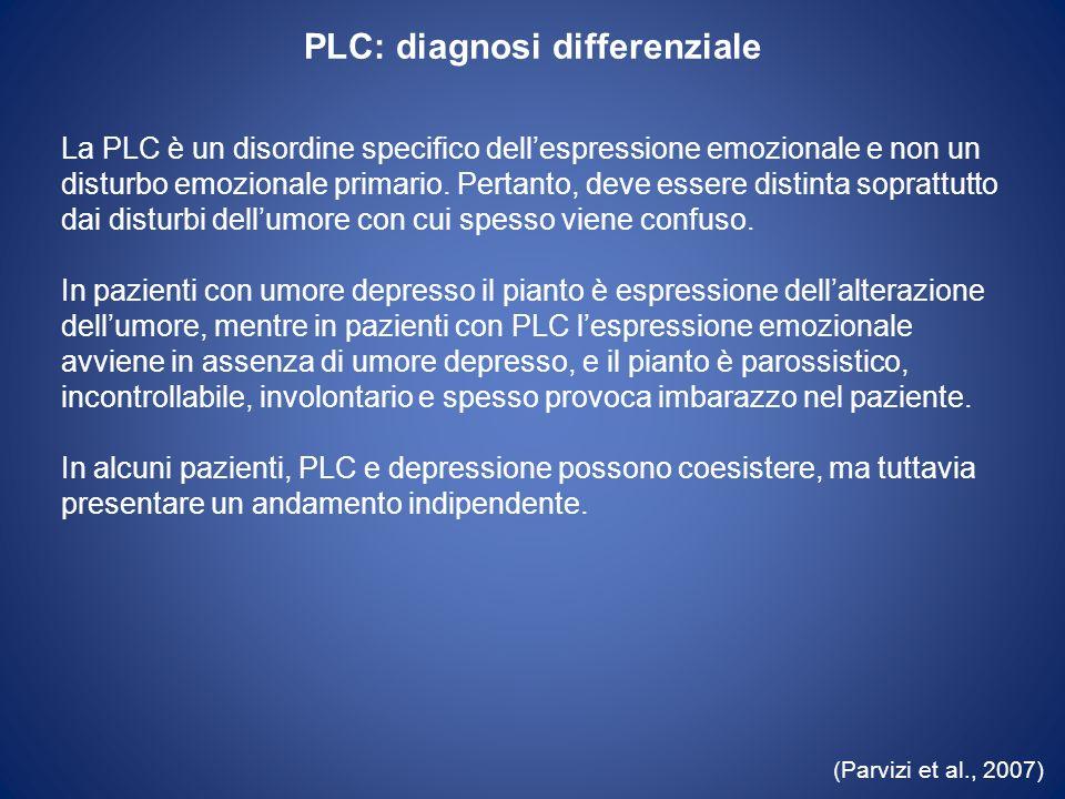 PLC: diagnosi differenziale La PLC è un disordine specifico dellespressione emozionale e non un disturbo emozionale primario. Pertanto, deve essere di