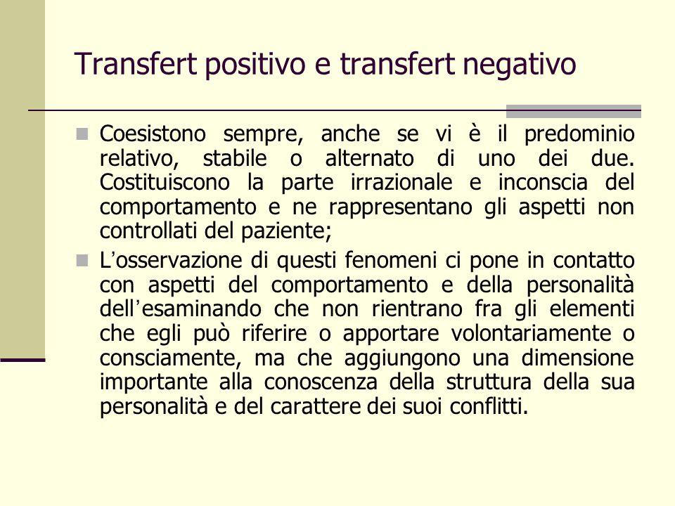 Transfert positivo e transfert negativo Coesistono sempre, anche se vi è il predominio relativo, stabile o alternato di uno dei due. Costituiscono la