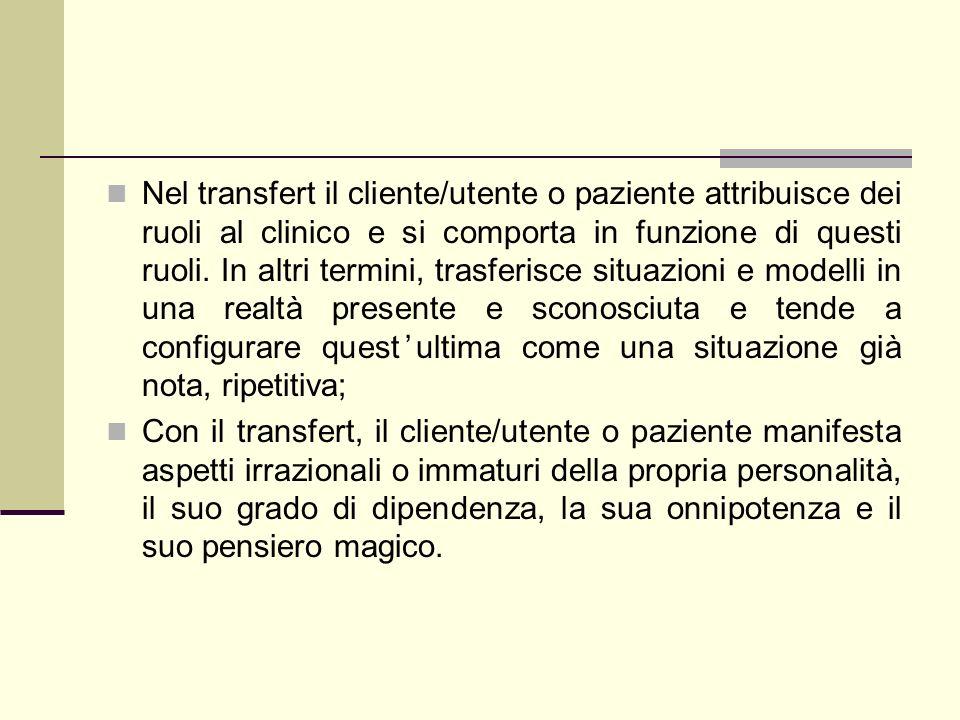 Nel transfert il cliente/utente o paziente attribuisce dei ruoli al clinico e si comporta in funzione di questi ruoli. In altri termini, trasferisce s