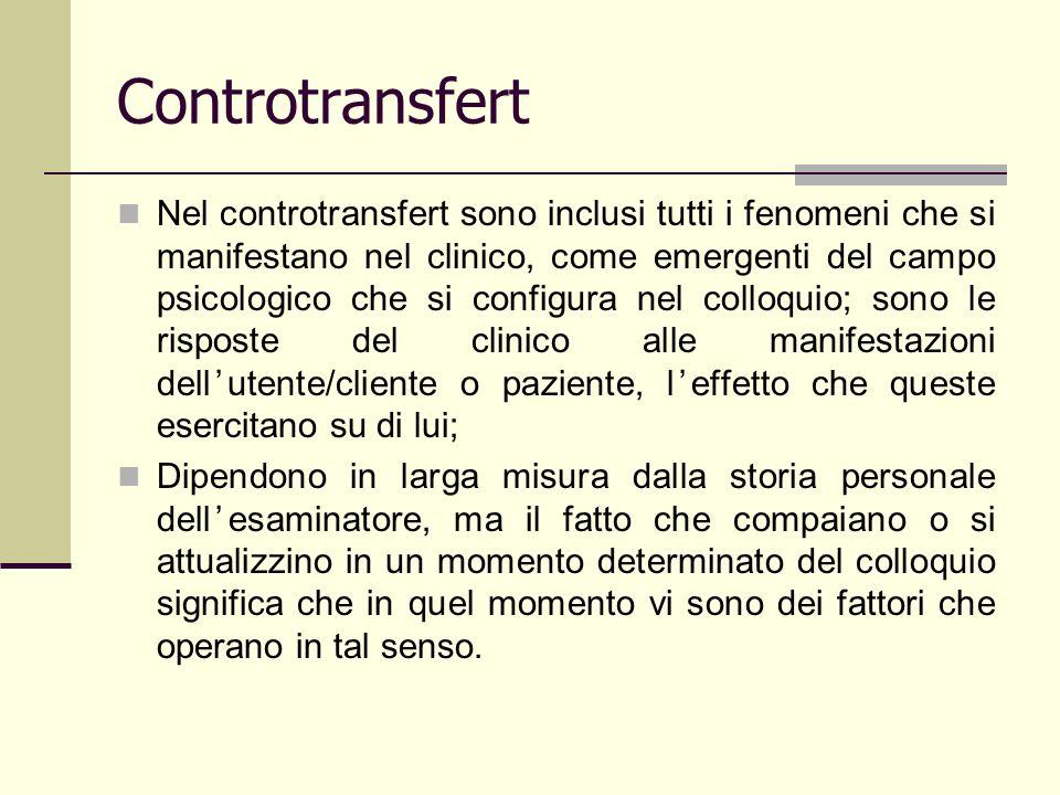 Controtransfert Nel controtransfert sono inclusi tutti i fenomeni che si manifestano nel clinico, come emergenti del campo psicologico che si configur