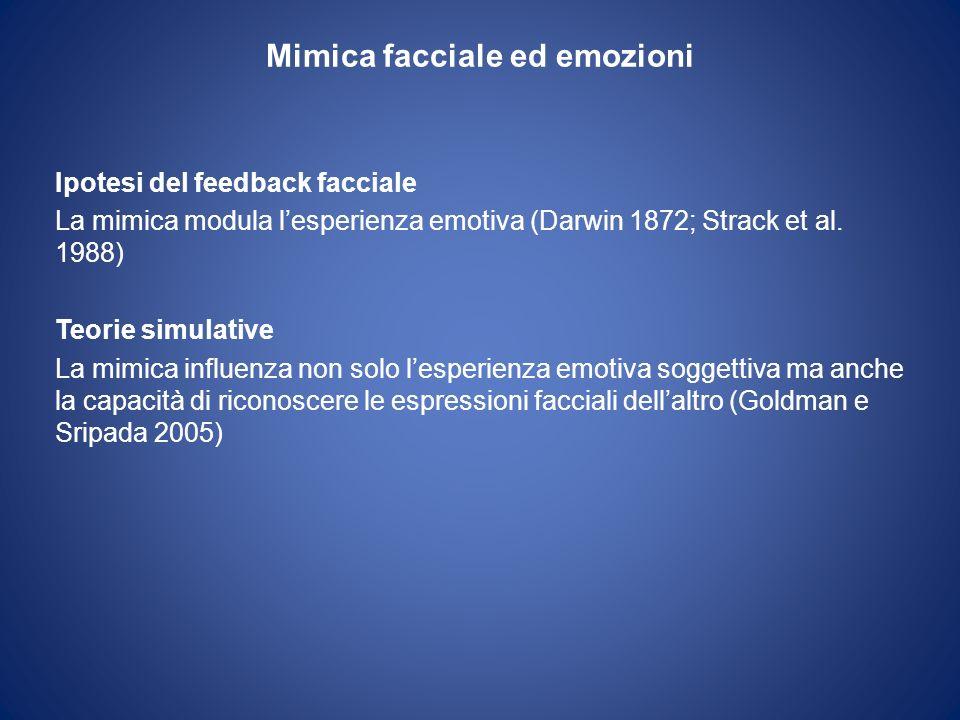 Mimica facciale ed emozioni Ipotesi del feedback facciale La mimica modula lesperienza emotiva (Darwin 1872; Strack et al. 1988) Teorie simulative La