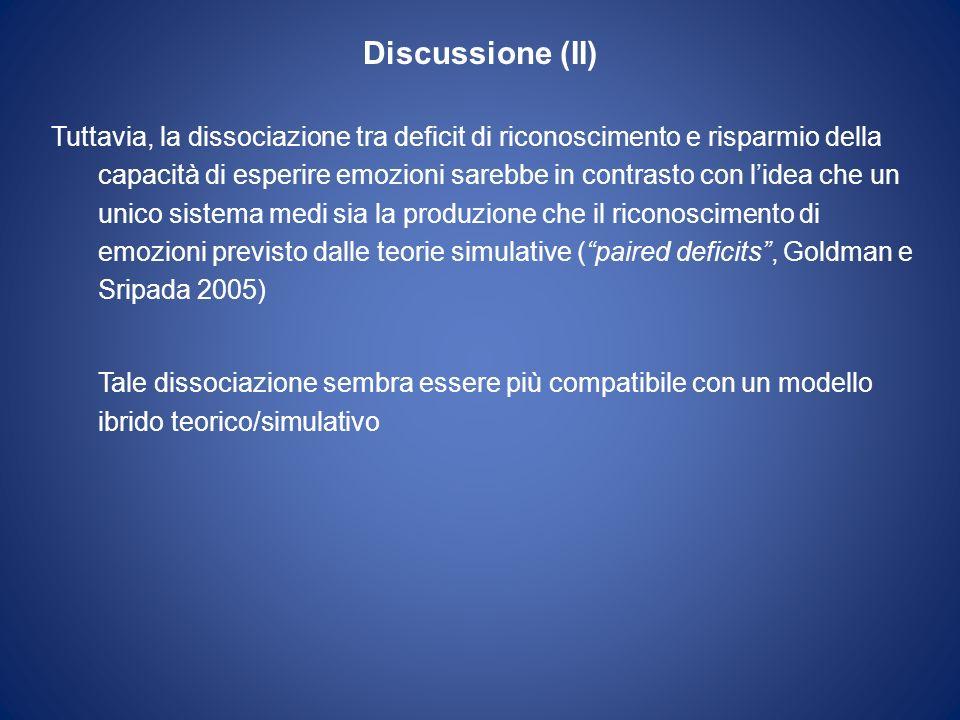 Discussione (II) Tuttavia, la dissociazione tra deficit di riconoscimento e risparmio della capacità di esperire emozioni sarebbe in contrasto con lid