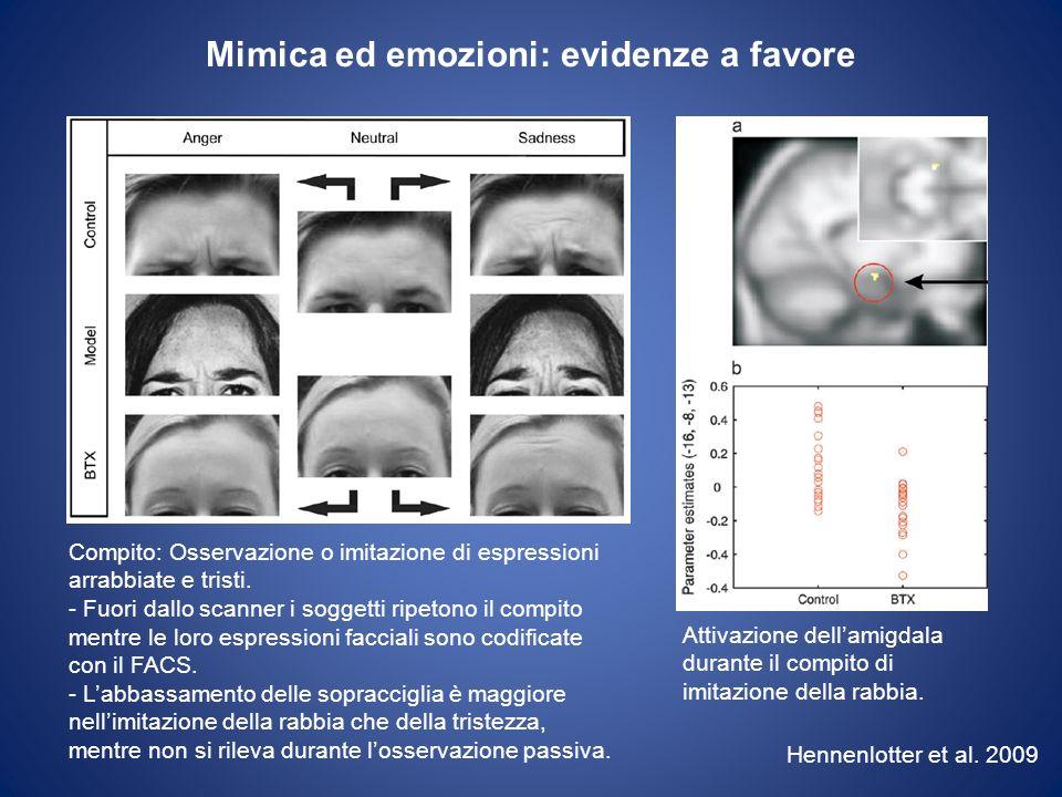 Mimica ed emozioni: evidenze contro Lattività della mimica non predice: 1.Laccuratezza nel riconoscimento delle espressioni 2.Lesperienza emotiva soggettiva Pazienti con paralisi facciale periferica (sindrome di Möbius e di Guillain-Barre) non mostrano deficit di riconoscimento di espressioni facciali Calder et al.