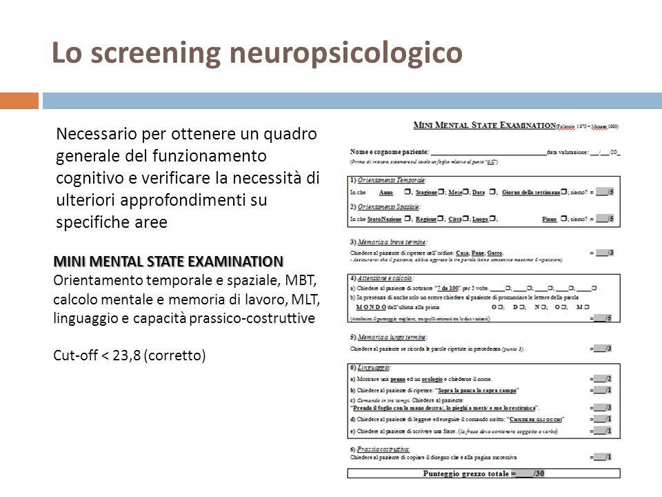 Lo screening neuropsicologico Necessario per ottenere un quadro generale del funzionamento cognitivo e verificare la necessità di ulteriori approfondimenti su specifiche aree MINI MENTAL STATE EXAMINATION Orientamento temporale e spaziale, MBT, calcolo mentale e memoria di lavoro, MLT, linguaggio e capacità prassico-costruttive Cut-off < 23,8 (corretto)