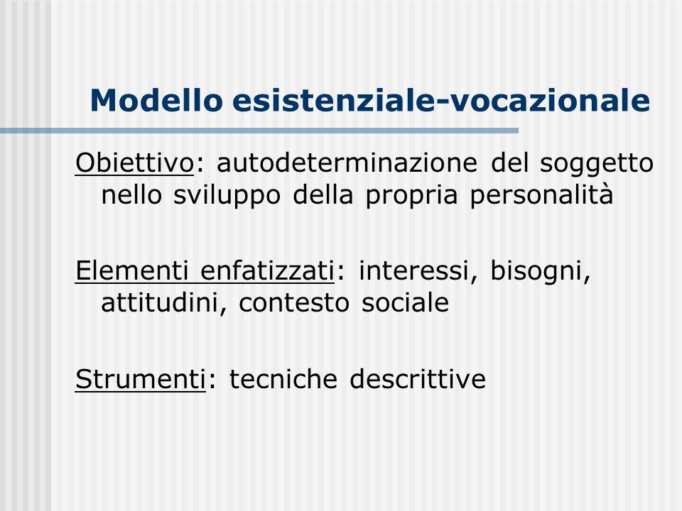 Modello esistenziale-vocazionale Obiettivo: autodeterminazione del soggetto nello sviluppo della propria personalità Elementi enfatizzati: interessi,