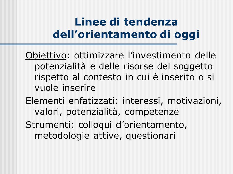 Linee di tendenza dellorientamento di oggi Obiettivo: ottimizzare linvestimento delle potenzialità e delle risorse del soggetto rispetto al contesto i