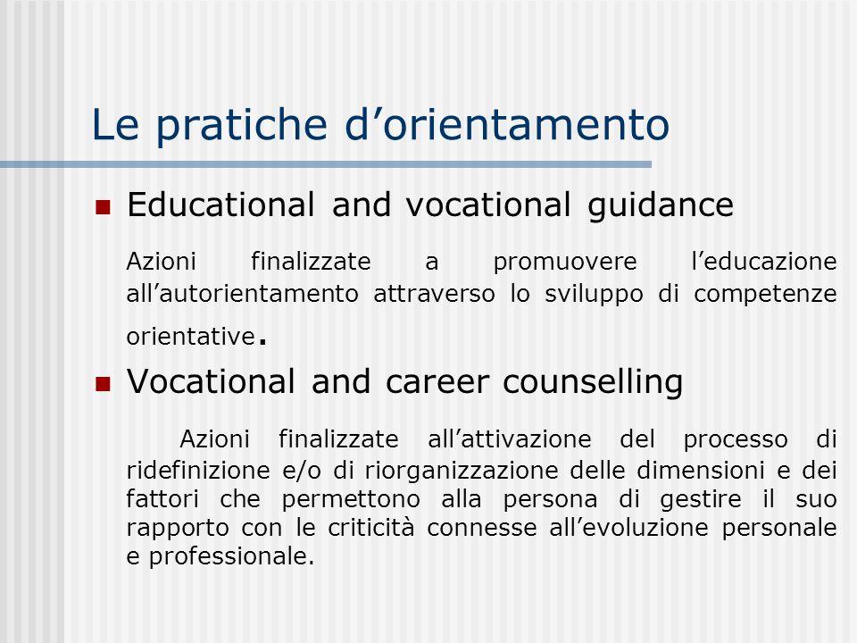 Le pratiche dorientamento Educational and vocational guidance Azioni finalizzate a promuovere leducazione allautorientamento attraverso lo sviluppo di