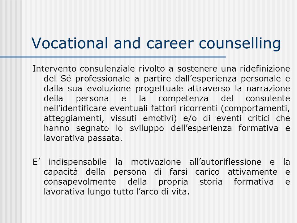 Vocational and career counselling Intervento consulenziale rivolto a sostenere una ridefinizione del Sé professionale a partire dallesperienza persona