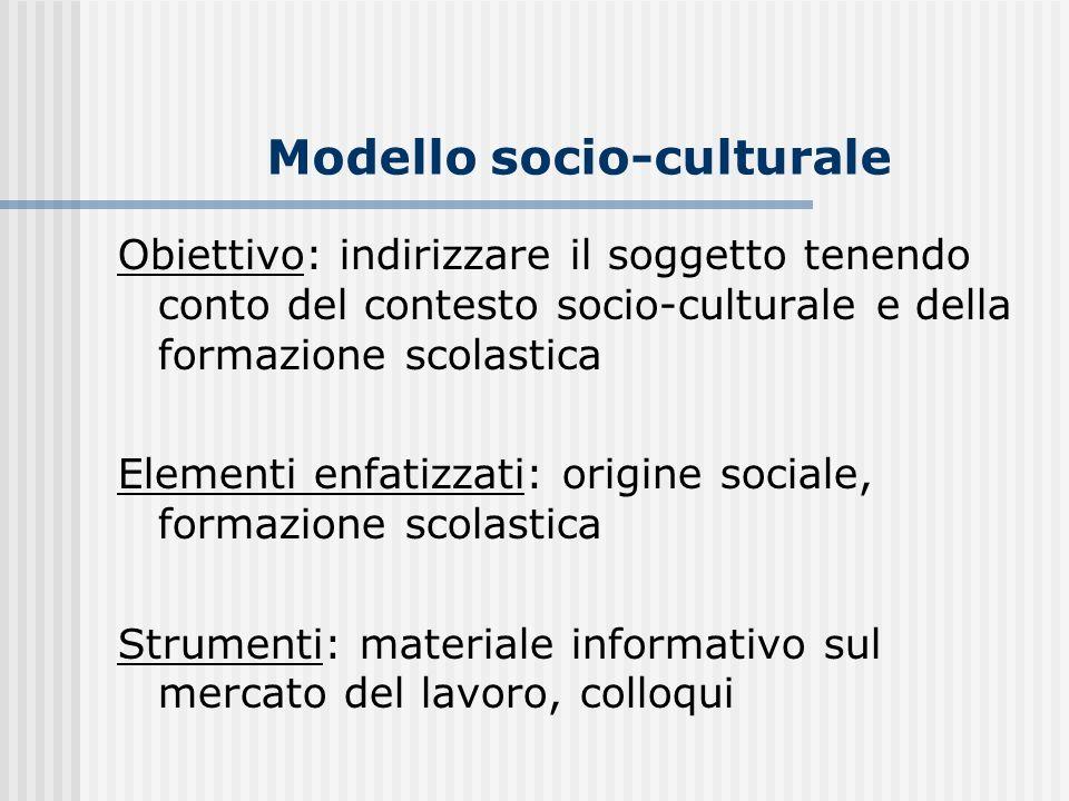Modello socio-culturale Obiettivo: indirizzare il soggetto tenendo conto del contesto socio-culturale e della formazione scolastica Elementi enfatizza
