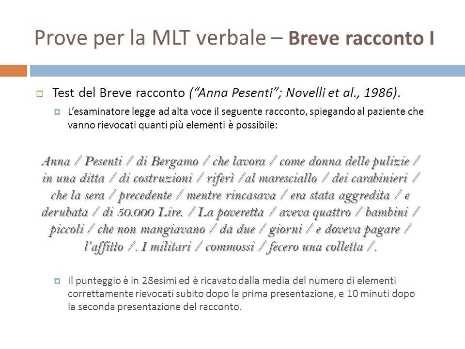 Prove per la MLT verbale – Breve racconto I Test del Breve racconto (Anna Pesenti; Novelli et al., 1986). Lesaminatore legge ad alta voce il seguente