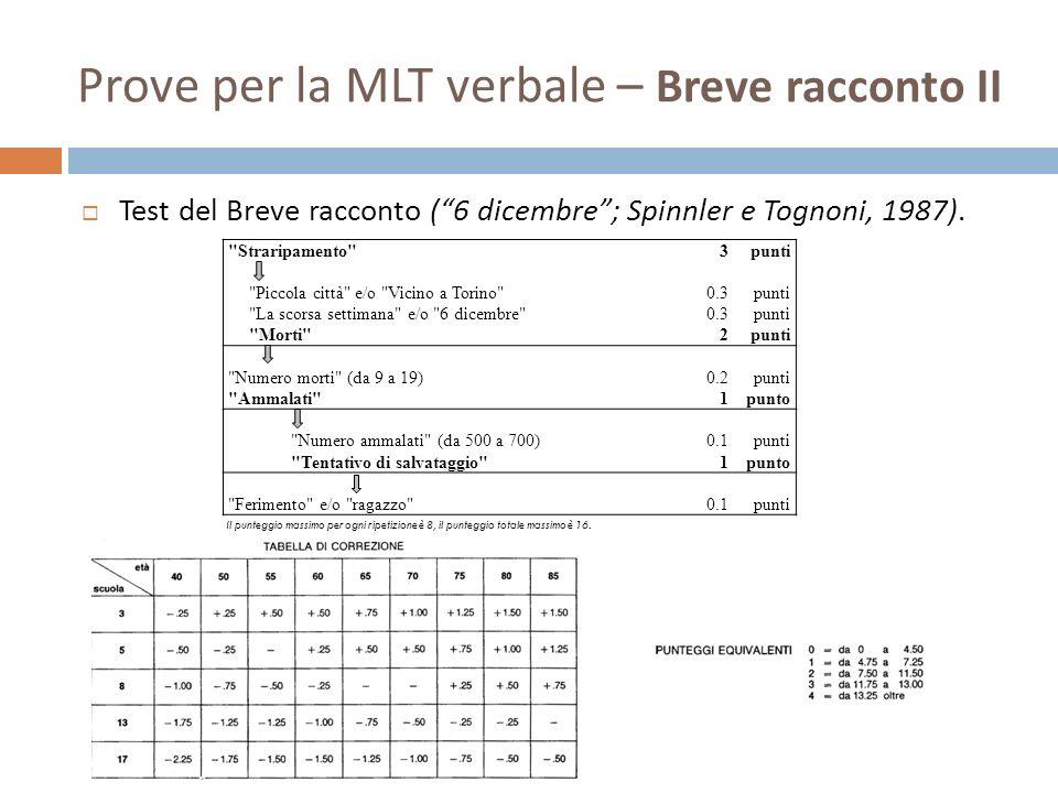 Prove per la MLT verbale – Breve racconto II Test del Breve racconto (6 dicembre; Spinnler e Tognoni, 1987).