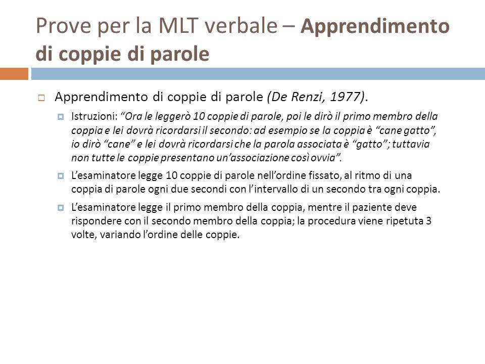 Prove per la MLT verbale – Apprendimento di coppie di parole Apprendimento di coppie di parole (De Renzi, 1977). Istruzioni: Ora le leggerò 10 coppie